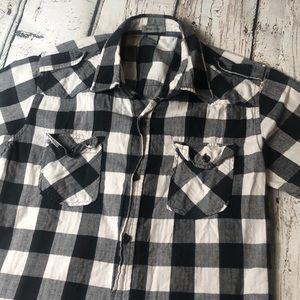 Vintage Pop Icon Black White Checkered Button Up